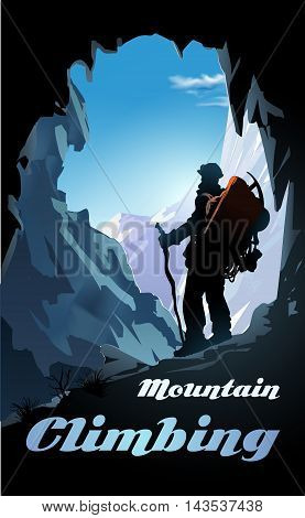 Mountain climbing poster. Mountaineer with a backpack and mountain panorama. Vector illustration
