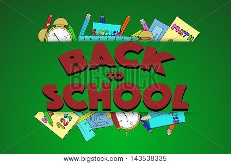 Back to school sign with texture and hand drawn school supplies. Hand drawn alarm pencils pen notebook workbooks and ruler on green chalkboard or blackboard background.