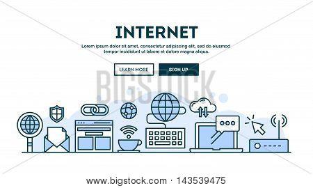 Internet concept header flat design thin line style vector illustration