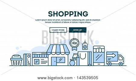 Online shopping concept header flat design thin line style vector illustration