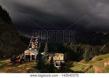 Abandoned wooden silver mill outside Ouray,  Colorado
