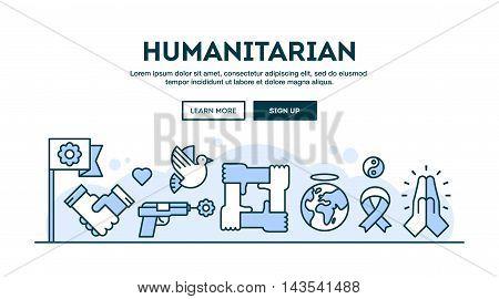 Humanitarian concept header flat design thin line style vector illustration