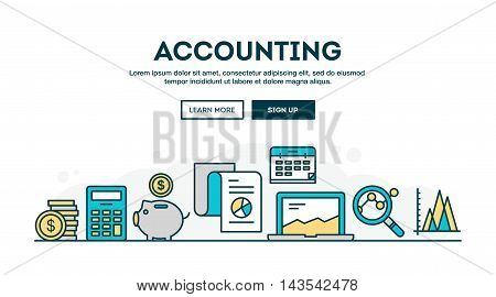Accounting colorful concept header flat design thin line style vector illustration