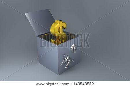 Gold dollar unlock from strong safe 3d render