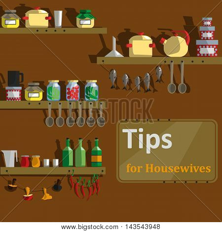 pantry laundry room attic which stores a variety of dried food and utensils. The poster for the article housewife tips. Vector Illustration