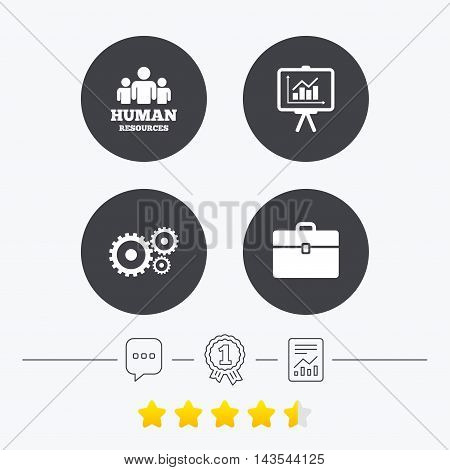 Human resources and Business icons. Presentation board with charts signs. Case and gear symbols. Chat, award medal and report linear icons. Star vote ranking. Vector