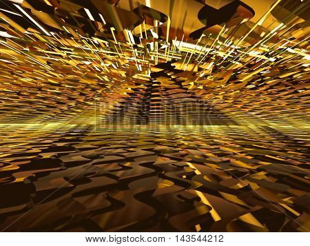 Abstract chaos background - computer-generated image. Fractal artwork chaotic lines forming the way to the horizon. For covers, posters, web-design