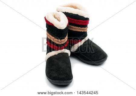 fur boots traditional, female on a white background