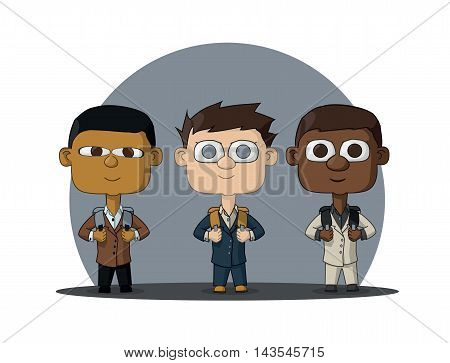 Students of three nationalities: African American Chinese and European. Children of the world. The first time in first class. Vector Illustration