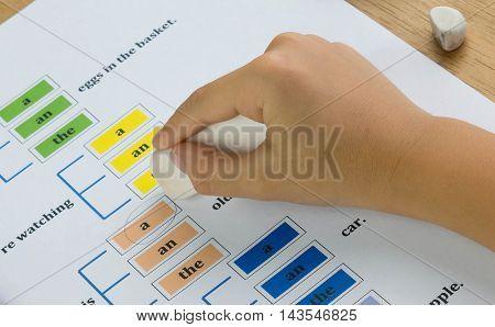 closeup hand holding eraser to erase pencil mark
