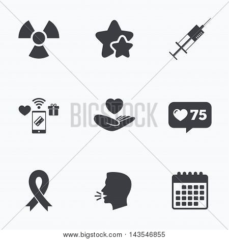 Medicine icons. Syringe, life insurance, radiation and ribbon signs. Breast cancer awareness symbol. Hand holds heart. Flat talking head, calendar icons. Stars, like counter icons. Vector