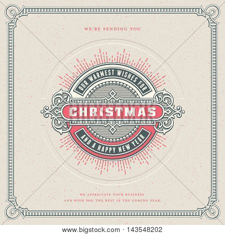 square retro vector christmas card design/template with ornamental round label or badge, corresponding frame, starburst and letterpress effect - perfect for your holiday and season's greetings