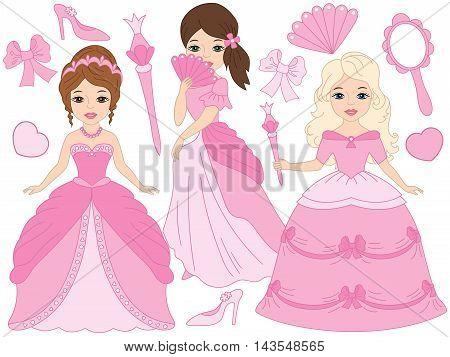 Vector beautiful princesses set in pink dresses