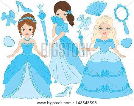 Vector beautiful princesses set in turquoise dresses