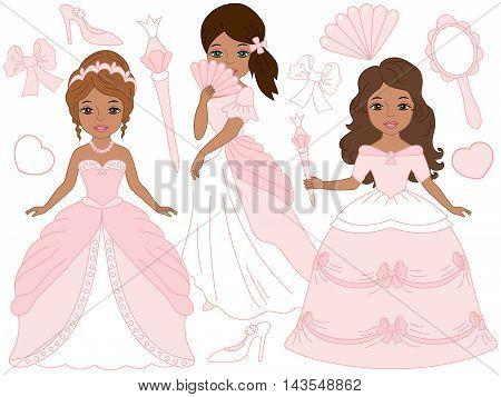 Vector African American beautiful princesses set in pink pastel dresses
