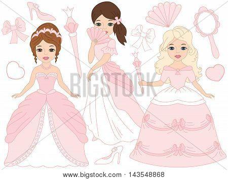 Vector beautiful princesses set in pink pastel dresses
