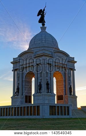 Sunrise at the Pennsylvania Monument at Gettysburg National Military Park in Adams County Pennsylvania USA.