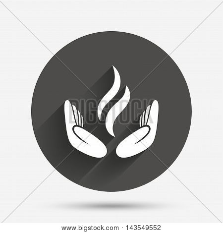 Energy hands sign icon. Power from hands symbol. Circle flat button with shadow. Vector