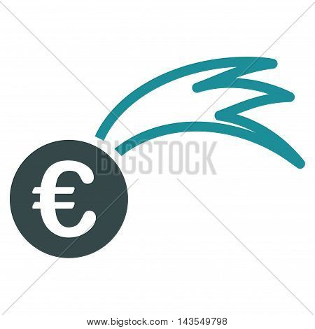 Euro Falling Meteor icon. Vector style is bicolor flat iconic symbol with rounded angles, soft blue colors, white background.