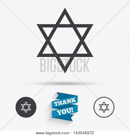 Star of David sign icon. Symbol of Israel. Jewish hexagram symbol. Shield of David. Flat icons. Buttons with icons. Thank you ribbon. Vector