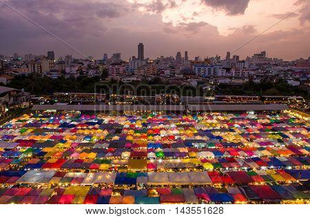 Train market secondhand market in Bangkok , Thailand.