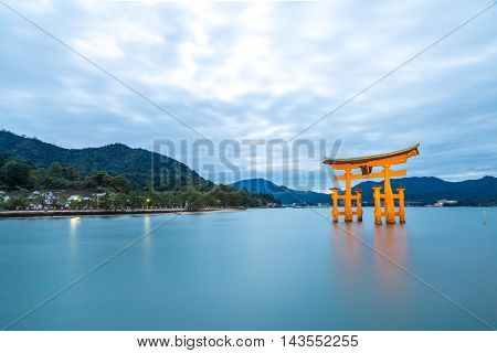 Miyajima, Hiroshima, famed floating torii gate Japan sunset