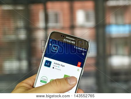 MONTREAL CANADA - JULY 15 : Adobe application on Samsung s7 screen. Adobe Sign is an e-signature solution that completely and seamlessly integrates with NetSuite.