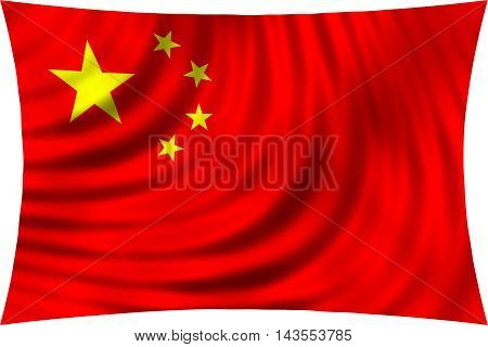 Flag of China waving in wind isolated on white background. Chinese national flag. Symbol of the People's Republic of China. Patriotic PRC design. 3d rendered illustration