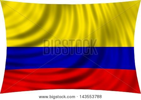 Flag of Colombia waving in wind isolated on white background. Colombian national flag. Patriotic symbolic design. 3d rendered illustration
