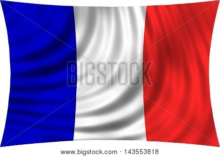Flag of France waving in wind isolated on white background. French national flag. Patriotic symbolic design. 3d rendered illustration