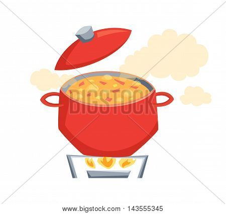 Boil the soup in a pot. Soup on the stove to boil. Cooking process vector illustration. Kitchenware and cooking utensils isolated on white. Vegatables soup in pot. Pan on a gas stove