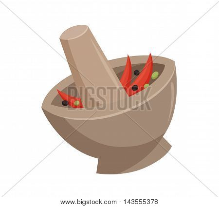 Grind the curry paste in a mortar. Traditional thailand mortar. Cooking process vector illustration. Kitchenware and cooking utensils isolated on white. Mix seasonings or herbs