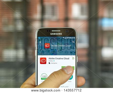 MONTREAL CANADA - JULY 15 : Adobe Creative Cloud app on S7. The app is a software as a service offering from Adobe Systems that gives users access to a collection of software developed by Adobe