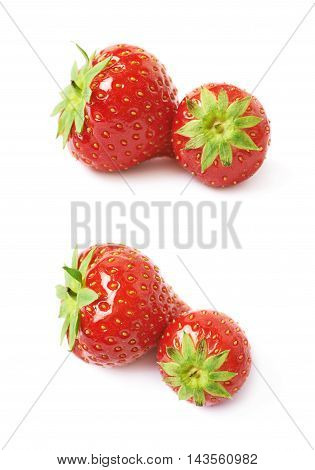 Pair of two ripe red strawberries isolated over the white background, set of two different foreshortenings