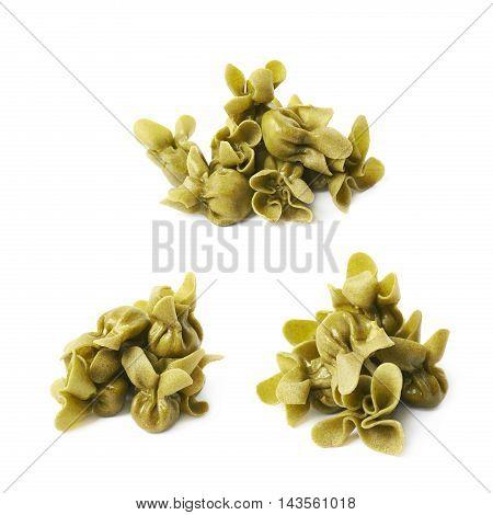 Pile of sacchettoni stuffed sacchetti pasta isolated over the white background, set of three different foreshortenings