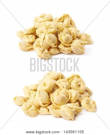 Pile of multiple stuffed ravioli sumplings isolated over the white background, set of two different foreshortenings