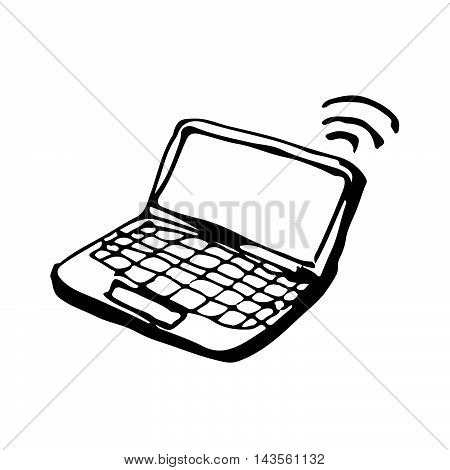 an images of doodle laptop icon drawing illustration design