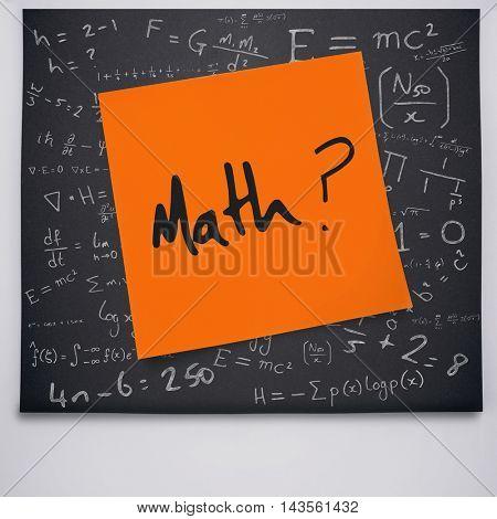 Math buzzword against black chalkboard