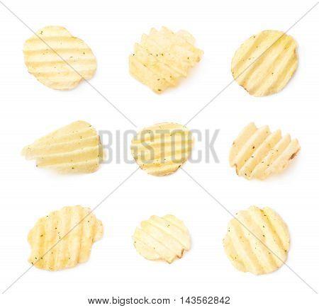 Single seasoned potato chip crisp isolated over the white background, set of nine different foreshortenings