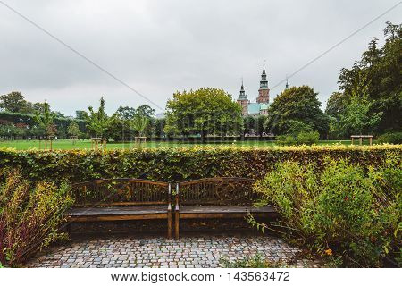 Rosenborg Castle And Royal Park In Copenhagen.