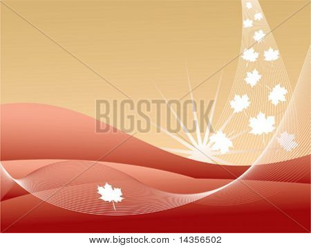 Golden-red abstract background with maple leaf