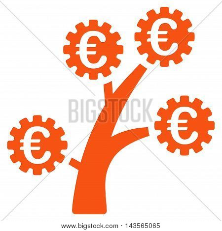 Euro Technology Tree icon. Vector style is flat iconic symbol with rounded angles, orange color, white background.