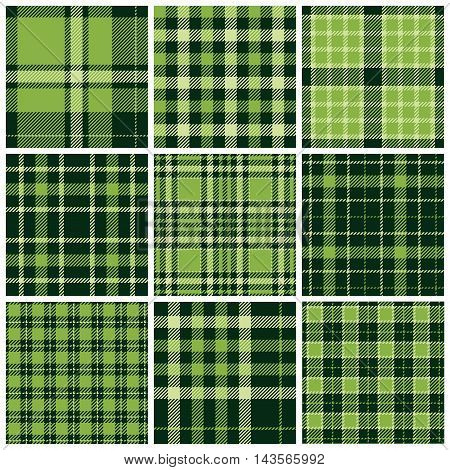 Set of plaid seamless patterns. Green colors. Vector illustration