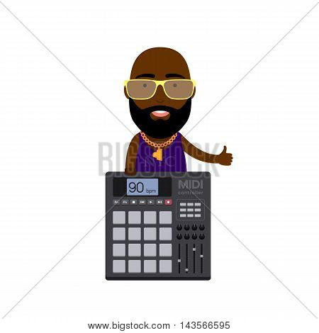 Vector Flat Illustration of a Hip-Hop Guy with MIDI Controller with Pads