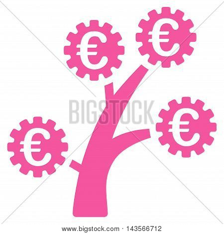 Euro Technology Tree icon. Vector style is flat iconic symbol with rounded angles, pink color, white background.