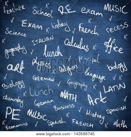 School buzzwords against blue chalkboard