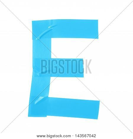 Letter E symbol made of insulating tape pieces, isolated over the white background