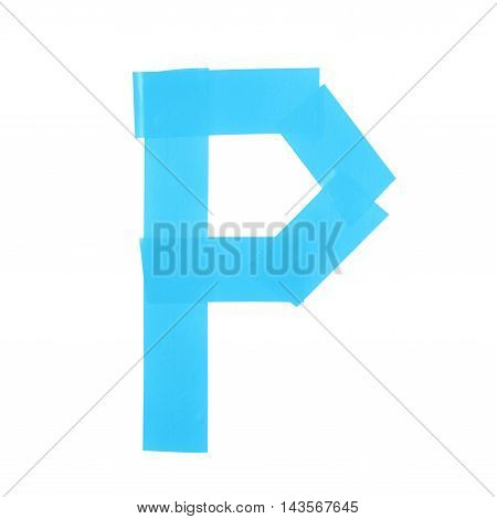 Letter P symbol made of insulating tape pieces, isolated over the white background