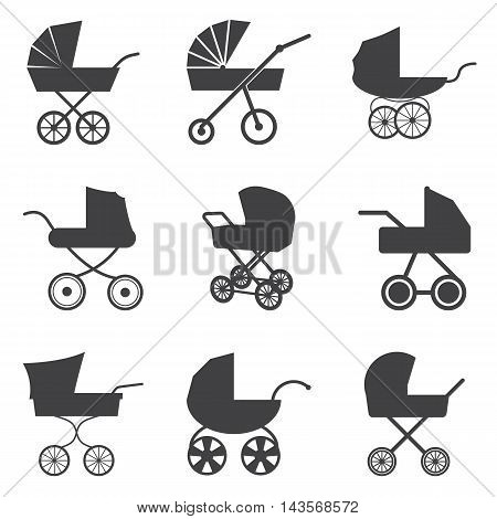 Baby stroller icons isolated on a white background. Vector illustration