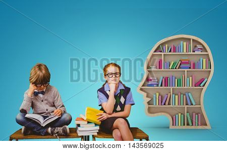 Pupils studying against blue vignette background